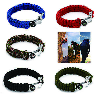 550lb Paracord Survival Military Bracelet Buckle With Compass Wristband Camping