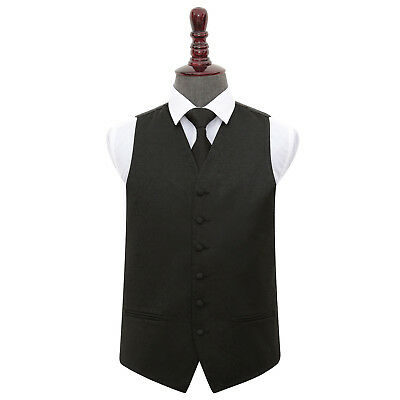 DQT Woven Swirl Patterned Black Mens Wedding Waistcoat & Tie Set