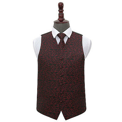 DQT Woven Swirl Patterned Black & Burgundy Mens Wedding Waistcoat & Tie Set