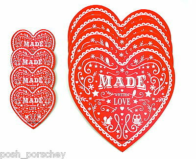 New Cream Red Heart Shape  Wipe Clean 4 Placemats Dinner Set 4 Coasters