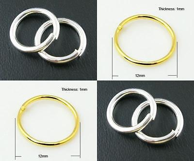 Gold or Silver Colour Jump Rings - Iron Closed Unsoldered 12mm - JR34
