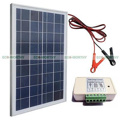20W 12V Solar Panel System Kit : solar panel+battery clips +3A charge controller