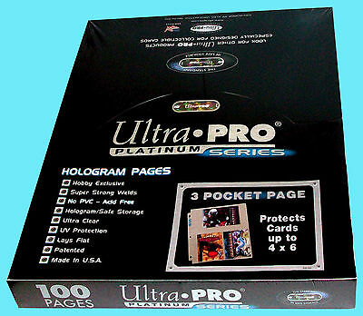 100 ULTRA PRO PLATINUM 3-POCKET 4x6 Pages Sheets Photo Currency Coupon Post Card