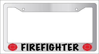 Blessed Are The Firefighters #2 Chrome License Plate Frame