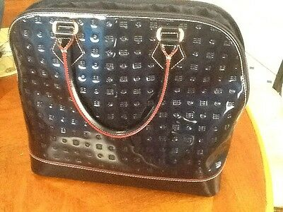 NWT Arcadia Patent Leather Tote Satchel Purse Bag Italy Italian Ocean Blue Dome