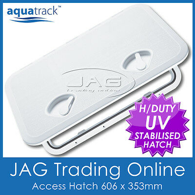 AQUATRACK WHITE ACCESS HATCH & LID 606 x 353mm - Marine/Boat/Caravan/RV/Storage