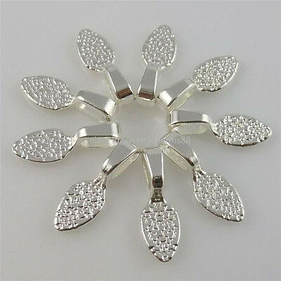 10940 100PCS Silver Tone Oval Glue on Bails Setting Pendant For Necklace Finding