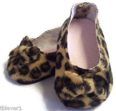 """Leopard Print Bow Shoes made for 18"""" American Girl Doll Clothes"""