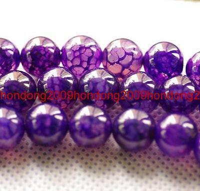 """10mm Purple Dragon Veins Agate Round Loose Beads 15"""""""