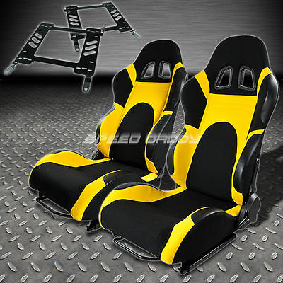 Pair Type-6 Reclining Black Yellow Woven Racing Seat+Bracket For 00-05 Eclipse