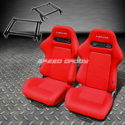 Pair Nrg Type-R Style Red Cloth Racing Seat+Bracket For 02-06 Acura Rsx Dc5