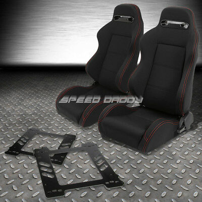 2X Type-R Black Canvas Bucket Racing Seat+Slider+Bracket For 92-99 Bmw E36 2-Dr