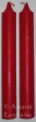 2 x RED - SPELL WORK CANDLES - Wicca Pagan Witch Ritual Altar Herb Goth Reiki
