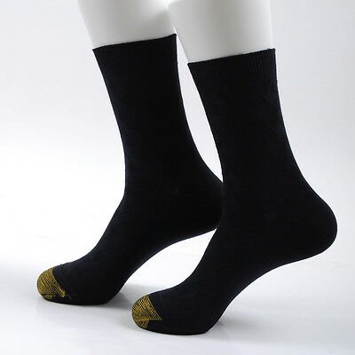 6 Pairs Mens Bamboo Fiber Golden Dress Solid Toes Breathe Soft Warm Socks 7-10