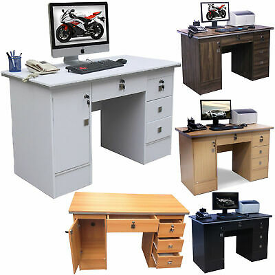 Computer Desk PC Table Home Office Furniture workstation in Four Clr with locks
