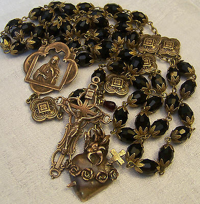 Rosary ~ Immaculate Heart of Mary ~ Antique Bronze Design ~ Black Quartz Crystal