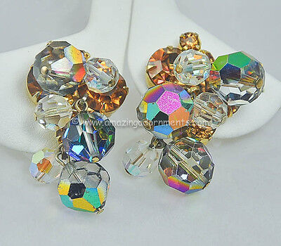 Vintage DELIZZA & ELSTER Crystal Dangle and Rhinestone Earrings