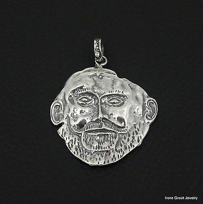 925 Sterling Silver Comedy Mask Solid Charm Pendant 22mmx14mm