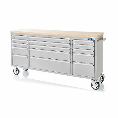 """72"""" Stainless Steel 15 Drawer Work Bench Tool Box Chest Cabinet"""