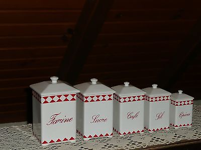 VINTAGE FRENCH CERAMIC CANISTER SET (5 items)- White red checked TRIANGLE design
