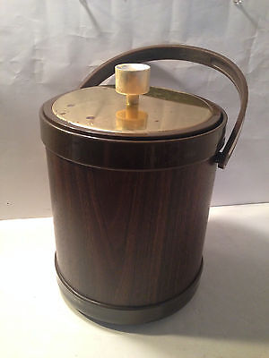 Kromex Atapko Retro Plastic Ice Bucket Barware Brass Handle & Lid w/ Made in USA