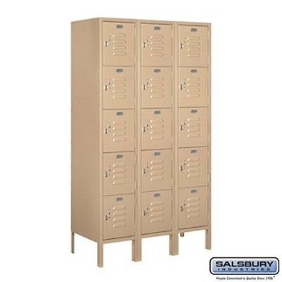 "Salsbury Metal Locker Five Tier Box Style 3 Wide 5' High 15"" Deep Tan 65355TN-U"
