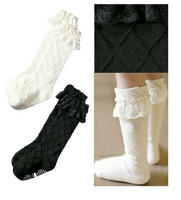 Kids Girls Baby Cotton Lace Knee High Socks Stockings Tights 3-8Y Black/White