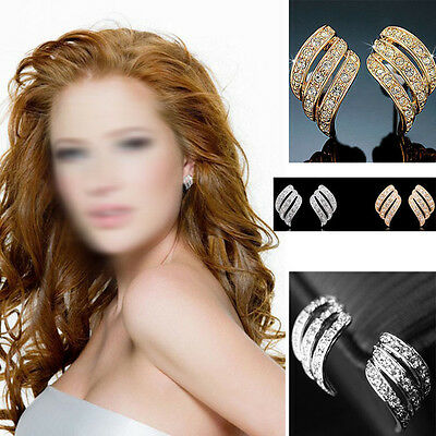 2015 Hot Fashion Lady Women Jewelry Rhinestone Crystal Wings Ear Stud Earrings