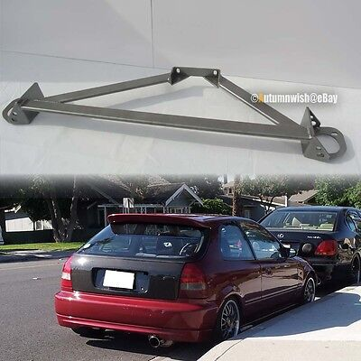 Fit Civic Integra Stainless 3 Point Gray Front Upper Strut Tower Brace Bar