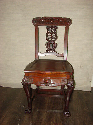 Antique Hand Carved Rosewood Griffin Chair Lion Foot Robust