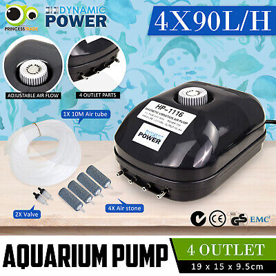Aqua Aquarium Air Pump Oxygen Fountain Pond Aerator Water Fish Tank 4 Outlet