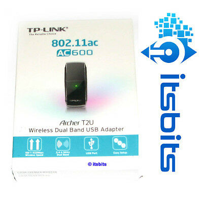 TP-LINK ARCHER T2U AC600 WIRELESS USB 2.0 DUAL BAND ADAPTER 5GHz & 2.4GHz WIN10