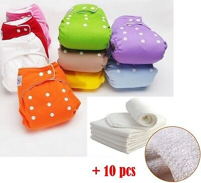 New Lot Adjustable Reusable Baby Washable Cloth Diaper Nappies+INSERTS U Choose