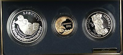 1991 US Mint Mount Rushmore Commem 3 Coin Silver & Gold Proof Set as Issued DGH