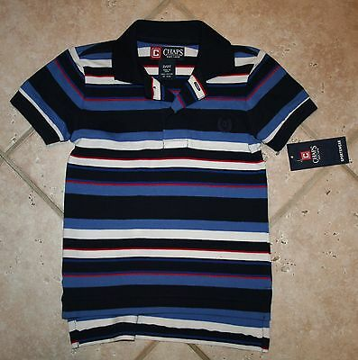 NWT Chaps Boys 2/2T Blue Navy White Striped Short Sleeve Polo Shirt