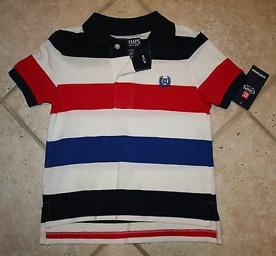 NWT Chaps Boys 2/2T Red White Blue Striped Short Sleeve Polo Shirt