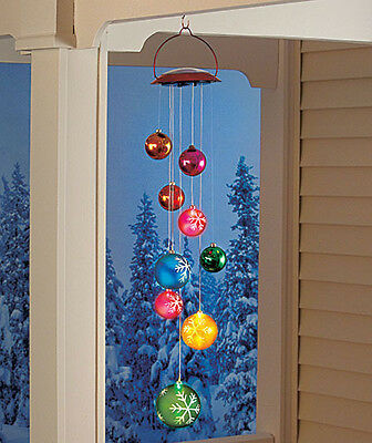 Dazzling ! Solar Lighted Holiday Ornament Hanging Mobile Christmas Outdoor Decor
