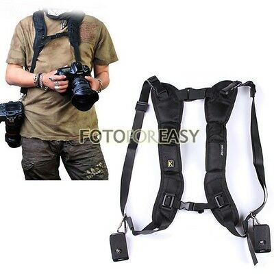 Black Double Shoulder Sling Belt Quick Rapid Strap for 2 DSLR Digital SLR Camera