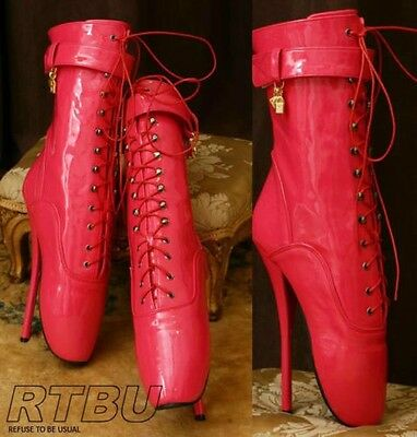 """18cm 7"""" Ballet Pointe Fetish Shiny Patent Fuchsia Brigh Pink Laceup Calf Boot"""