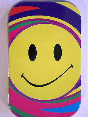 new slim 1oz hinged smiley acid face tobacco tin