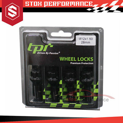 TPI Premium Protection Wheel Lock Bolts ECO Black  M12X1.50 - New