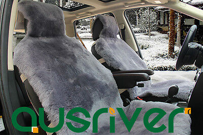 Gray Premium Quality Australian Sheep Skin Car Short Wool Front Seat Cover