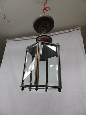 Vintage Six Sided Copper Ceiling Light Fixture Beveled Glass Panels Old 3644-14