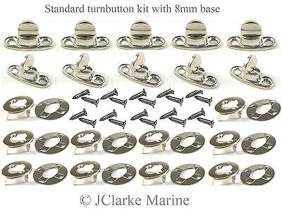 5x 6mm A4 Stainless Steel Marine Common Sense Turnbutton Canopy Canvas Cover