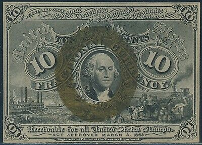 Fr1244 10¢ 2Nd Issue F.c. W/o Small Surcharge Figures On Corners Gem Cu Br6063