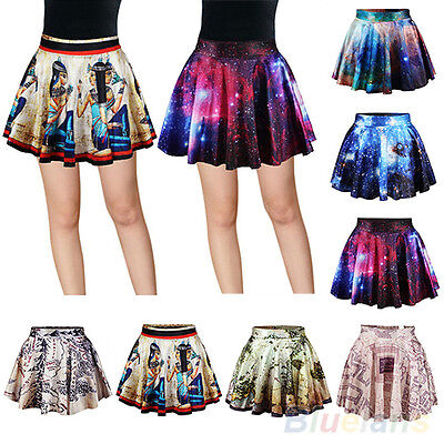 Women's Attractive High Waist Pleated Galaxy Mural Short Mini Skirt Flared Dress
