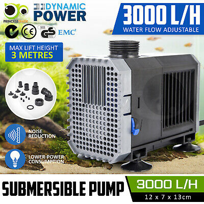 Submersible Aqua Aquarium Fountain Pond Marine Water Pump Fish Tank Air 3000L/H