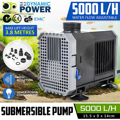 Submersible Aqua Aquarium Fountain Pond Marine Water Pump Fish Tank Air 5000L/H