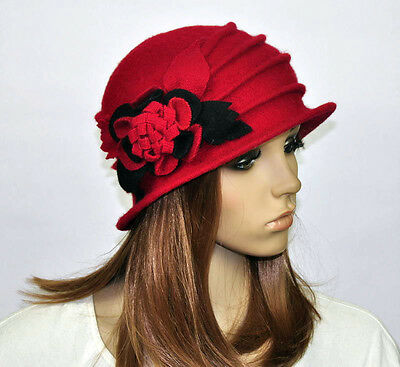 M92 RED Wool Acrylic Cute Flowers Winter Brim Hat Cap Beanie Women s ... 877be9edf817