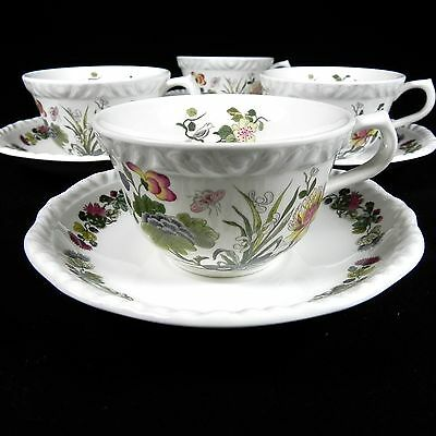 Four sets of Adams Cups & Saucers Country Meadow Ironstone England